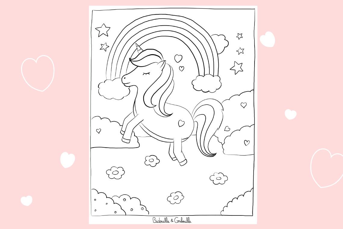 Coloriage Licorne arc en ciel   Bidouille et Gribouille